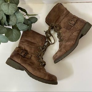 Roxy Ember J Brown Faux Leather Lace Up Ankle Boot